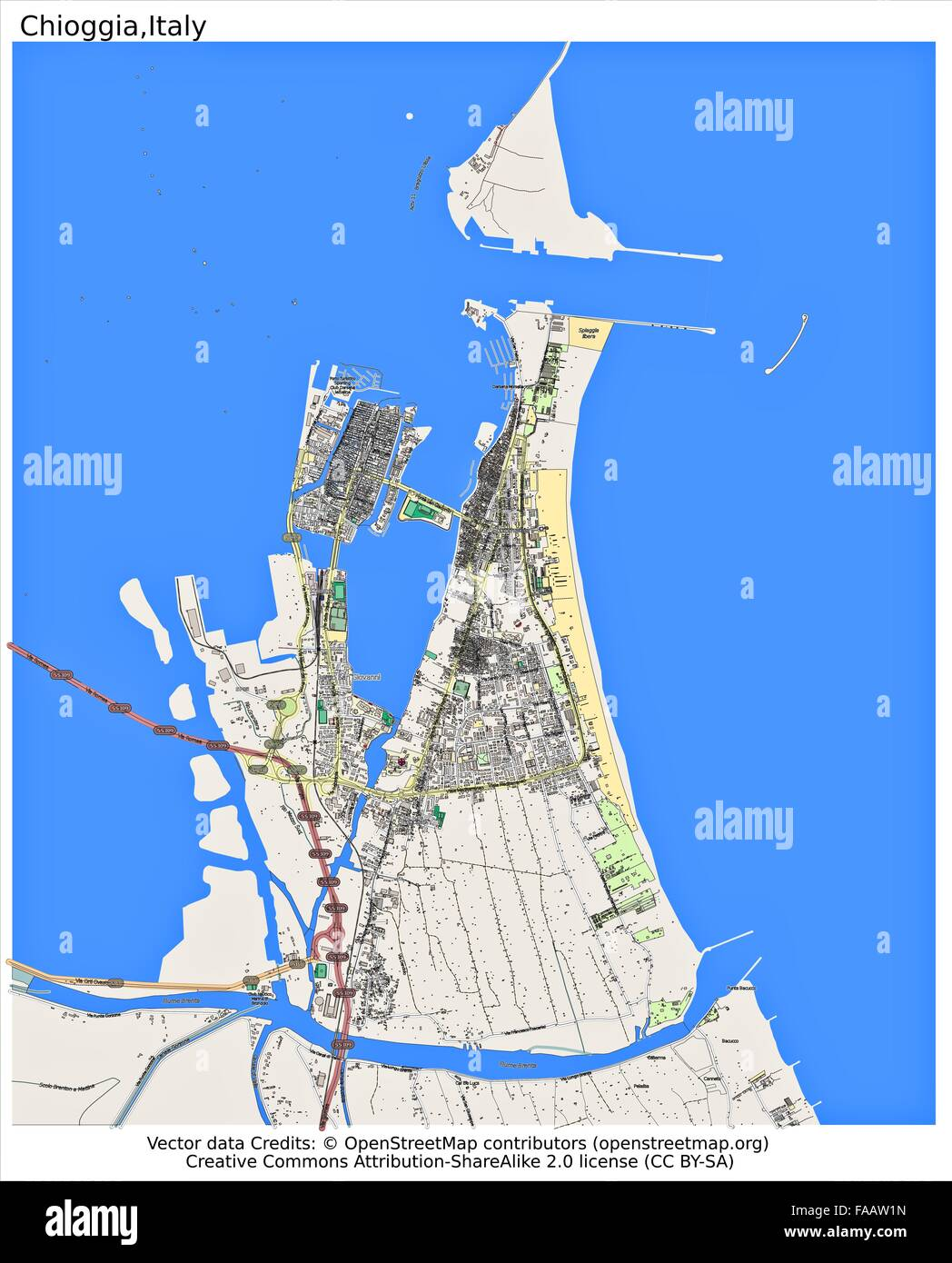 Chioggia italy city map stock photo 92437569 alamy chioggia italy city map thecheapjerseys Choice Image