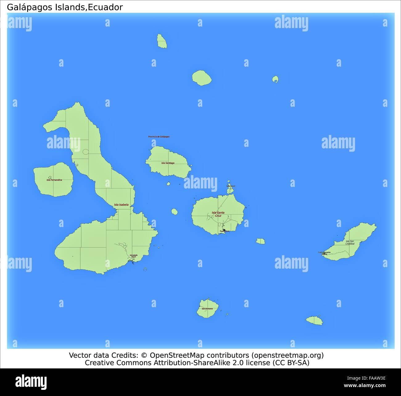 Galapagos Islands Ecuador Map Stock Photo Royalty Free Image - Galapagos map