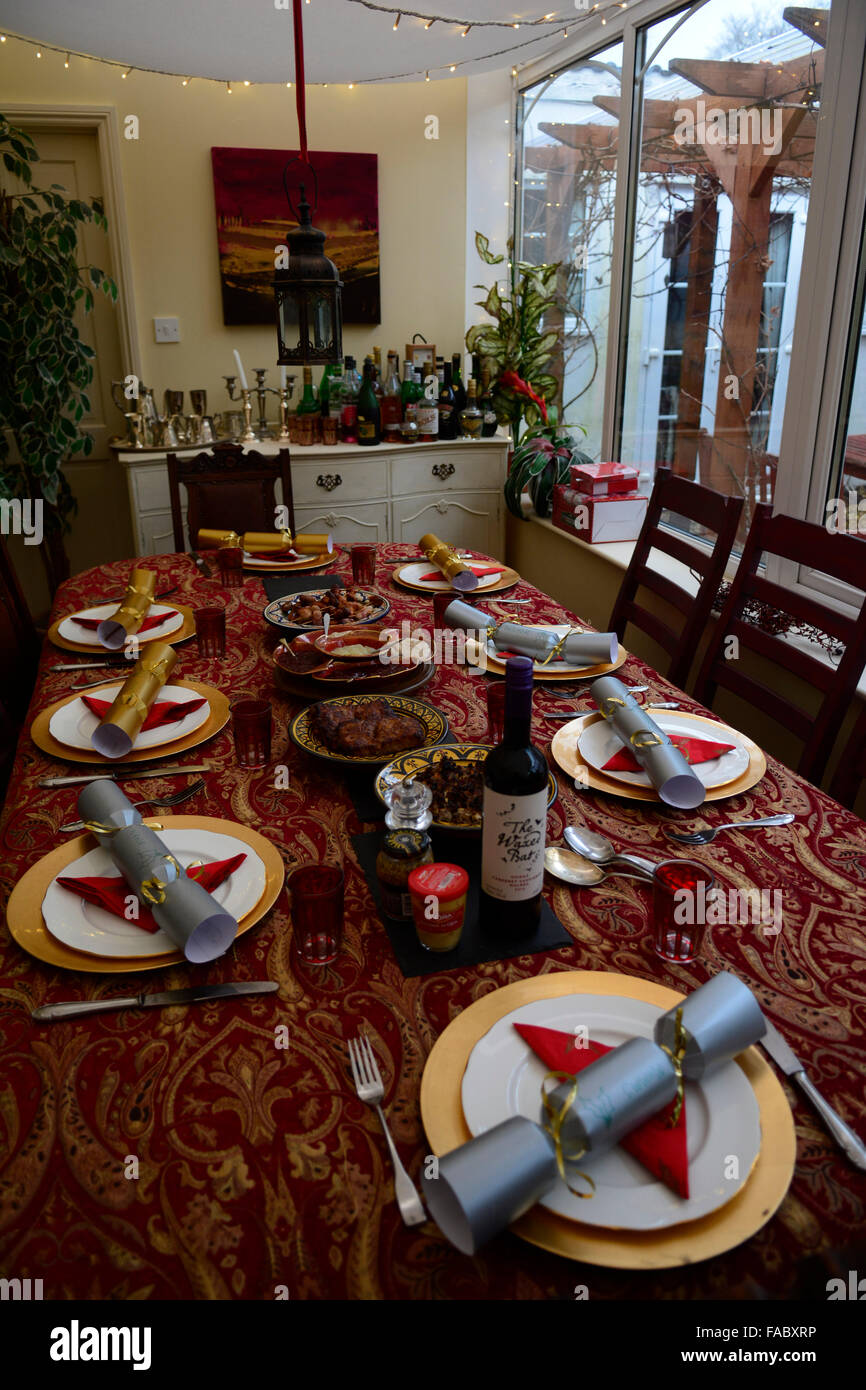 Home Made Food Served On Christmas Day In A Family Home