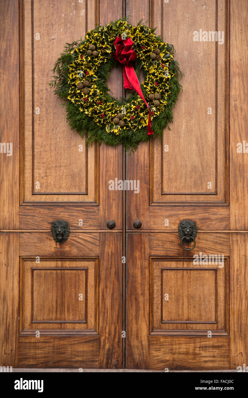 Why is holly a traditional christmas decoration - Uk England Cheshire Knutsford Tatton Hall Traditional Christmas Holly Wreath On Main Door
