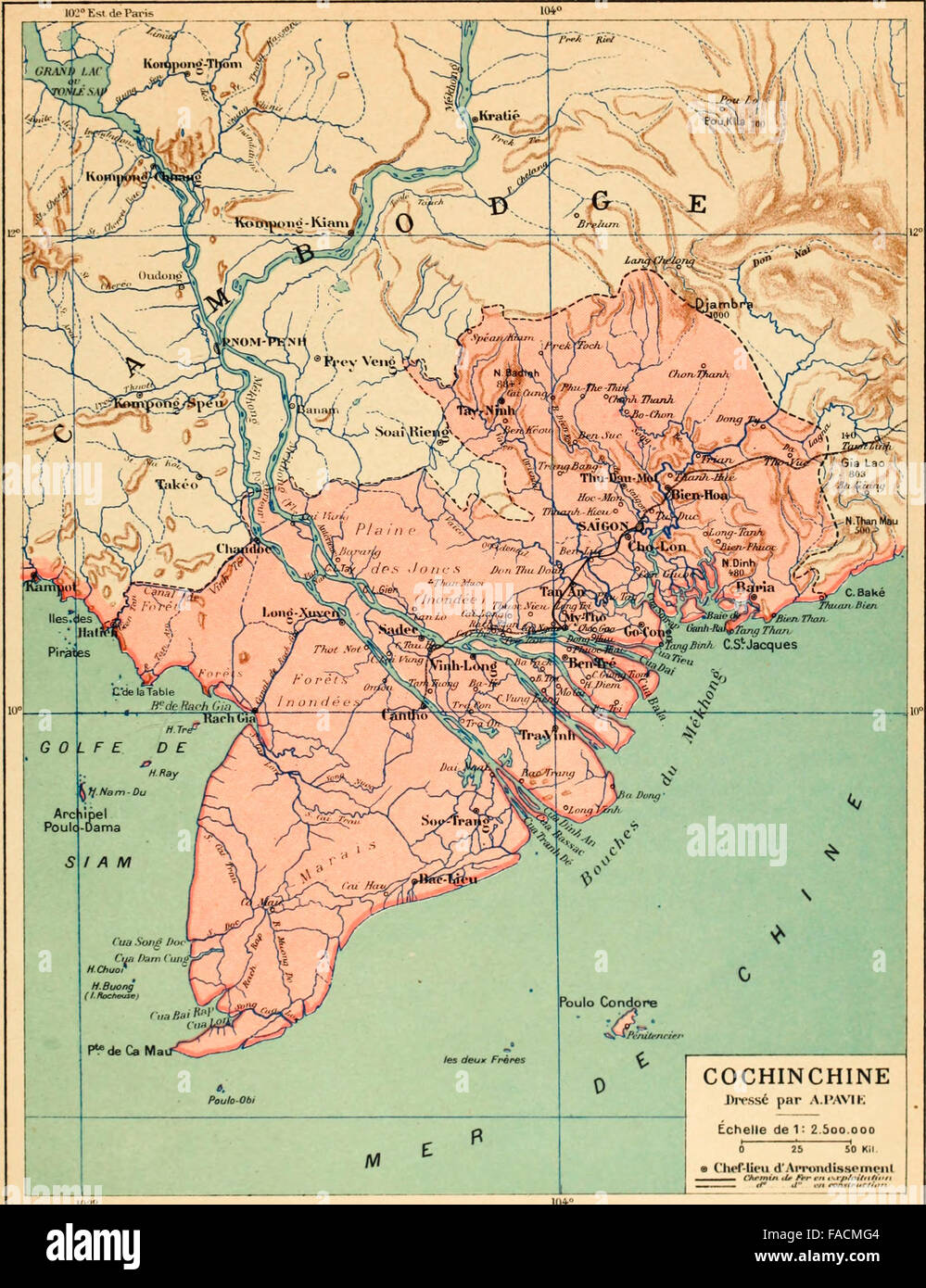 Map of Cochinchine  French Colony which comprised the bottom