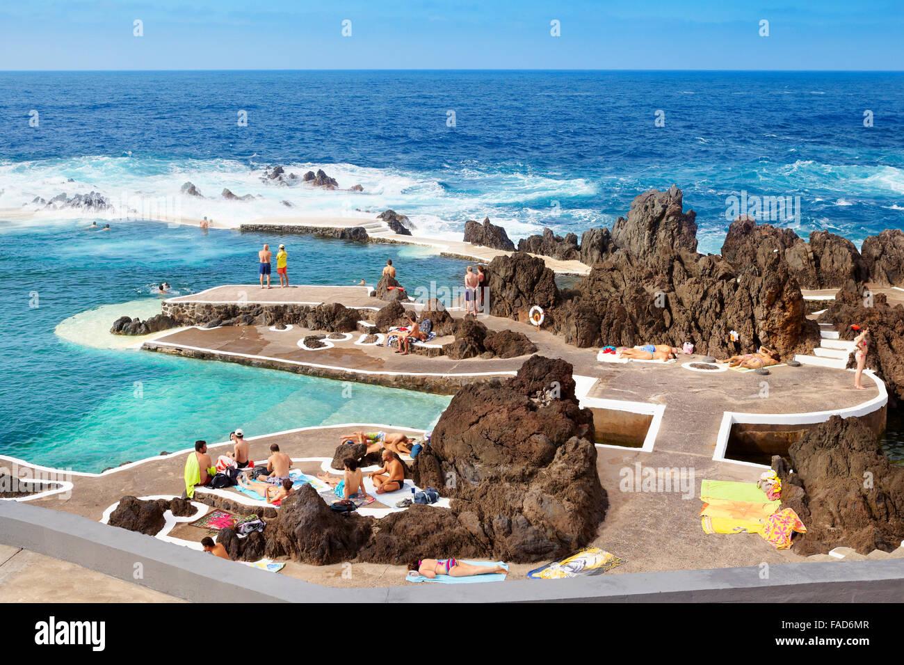 Swimming Pool With Ocean Water Porto Moniz Madeira Island Portugal Stock Photo Royalty Free