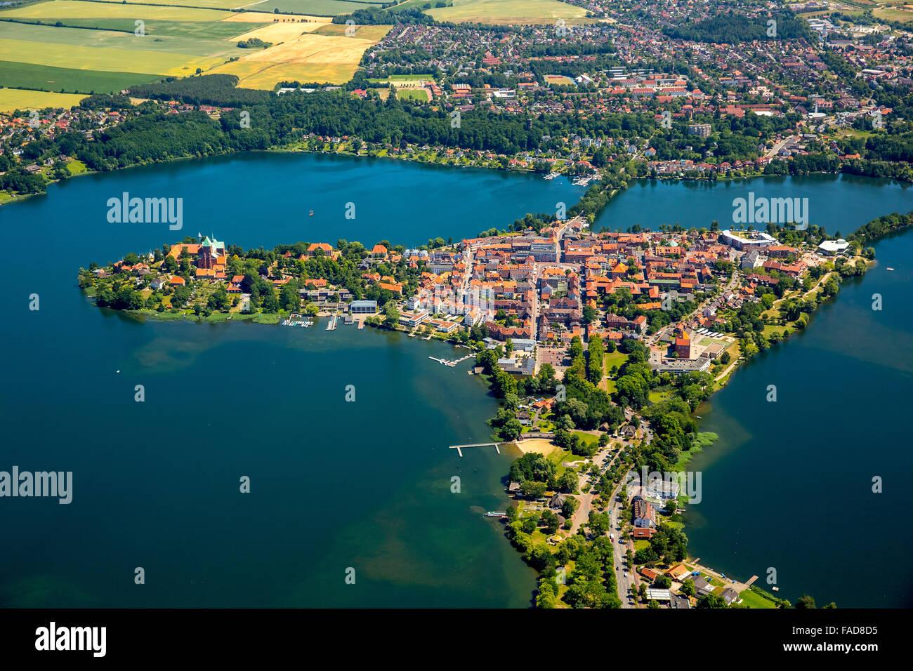Küchensee Ratzeburg Wandern ~ aerial view, peninsula, lake ratzeburg, domsee, küchensee, ratzeburg stock photo, royalty free