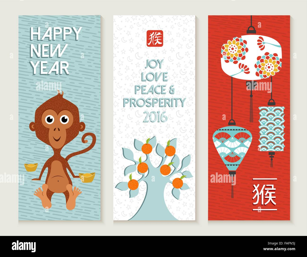2016 happy chinese new year of the monkey cute label for Wildlife christmas cards 2016