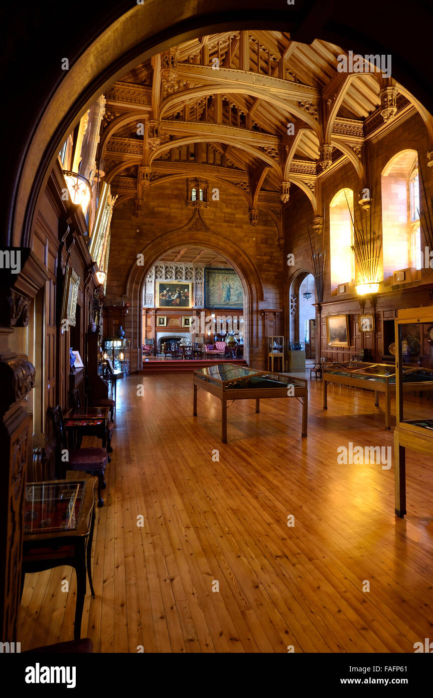 interior of king's hall in bamburgh castle, northumberland