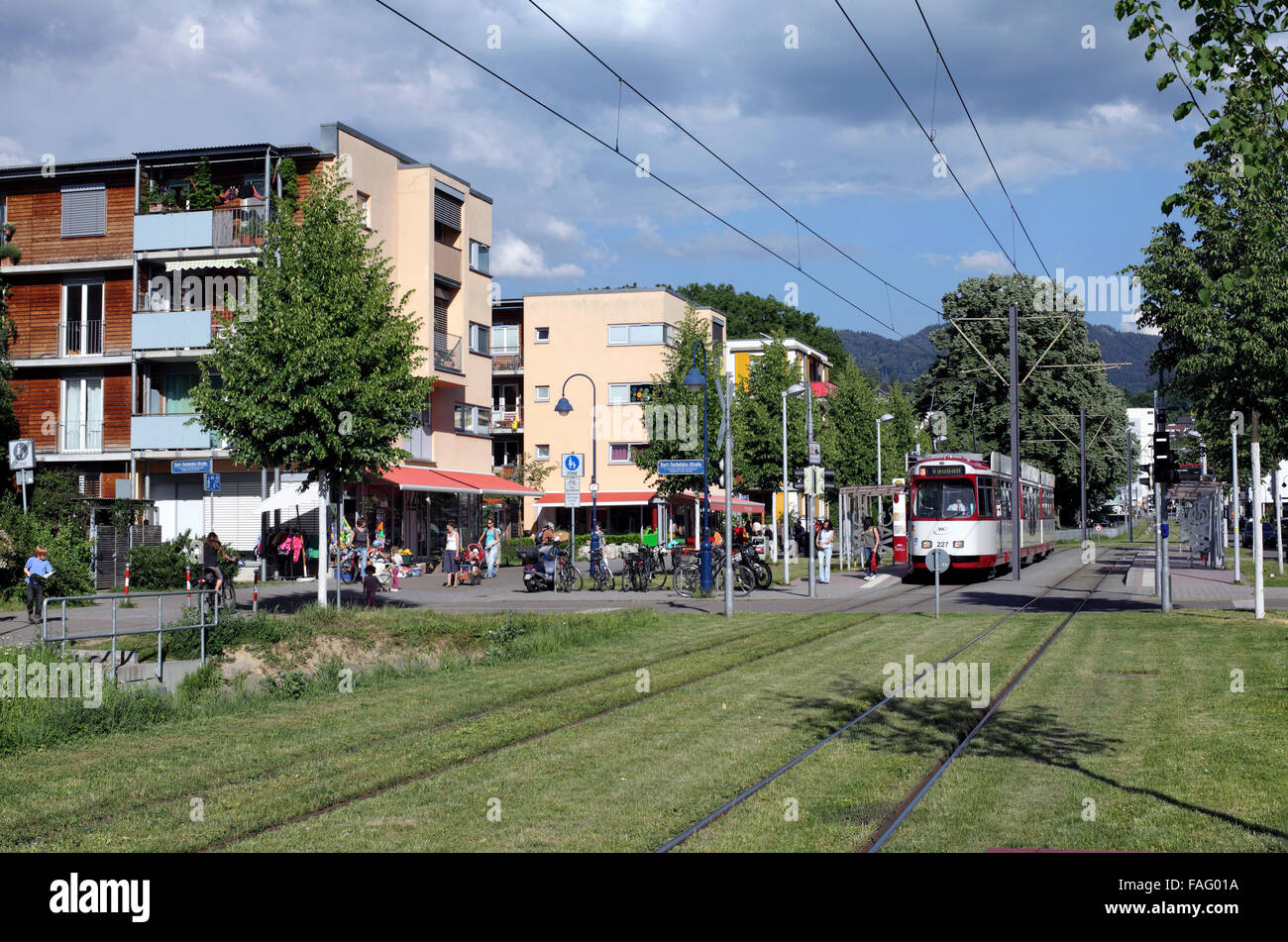 a tram in the centre of vauban a sustainable suburb of freiburg im stock photo royalty free. Black Bedroom Furniture Sets. Home Design Ideas