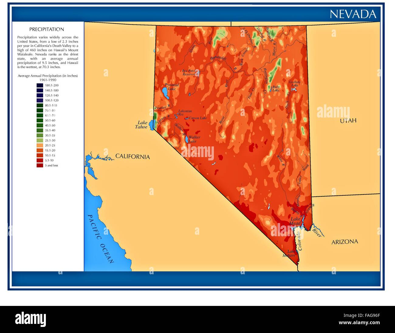 Nevada United States Water Precipitation Statistics Map By State Us Map California And Nevada