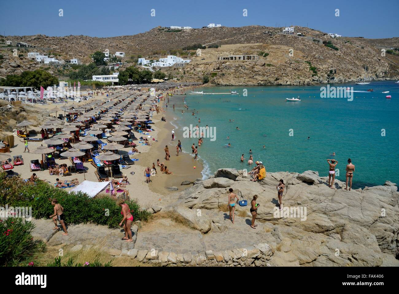 Best Island Beaches For Partying Mykonos St Barts: Tourists On Super Paradise Beach, Mykonos, Cyclades
