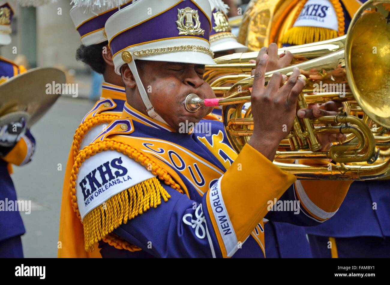 Edna Karr High School Marching Band in Krewe of NOMTOC ... |Edna Karr High School Band