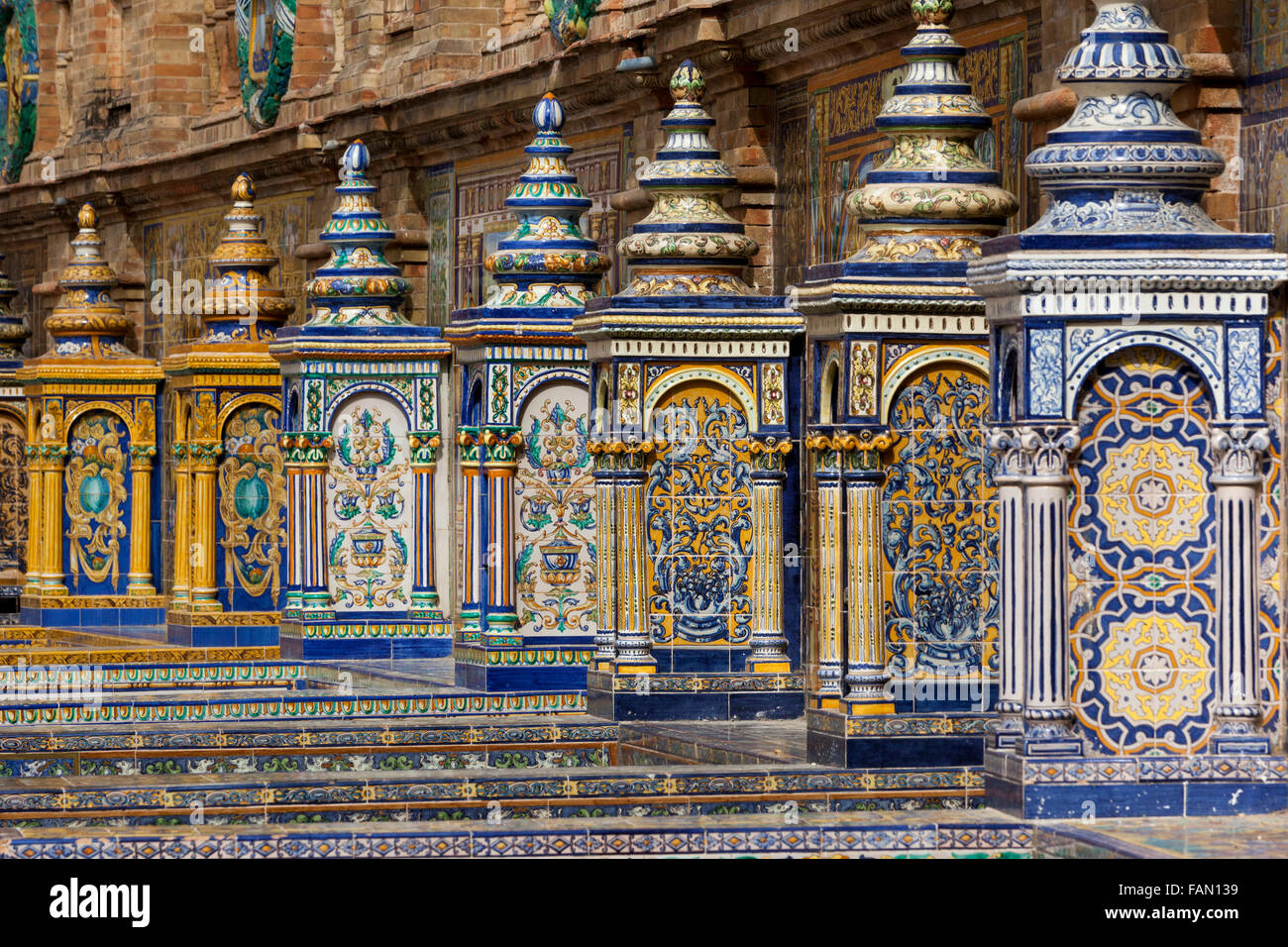 azulejos painted ceramic tiles in alcoves in plaza de