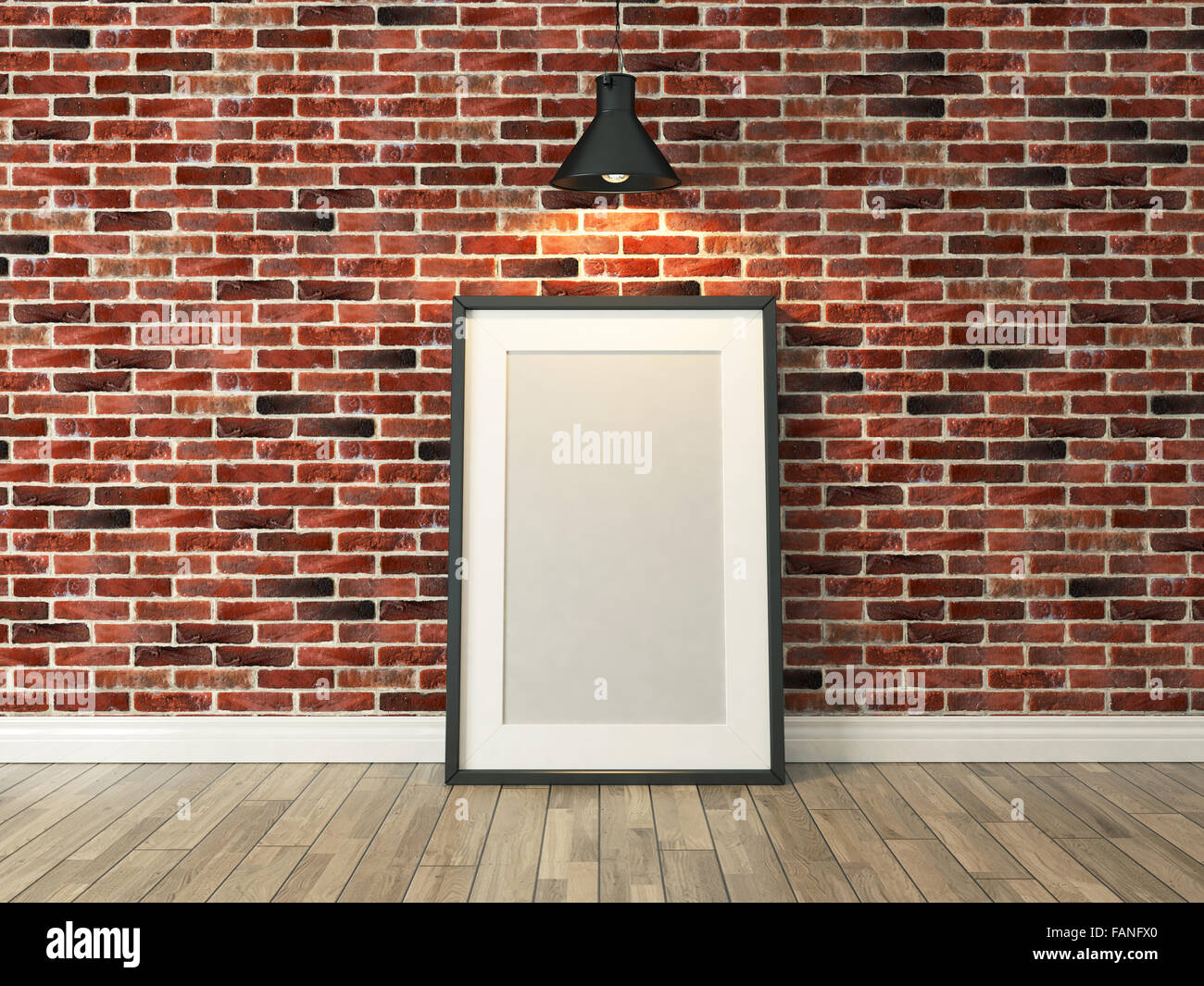 Light Wood Floor Background. picture frame on the red brick wall and wood floor under spot light for  background template advertising rendering
