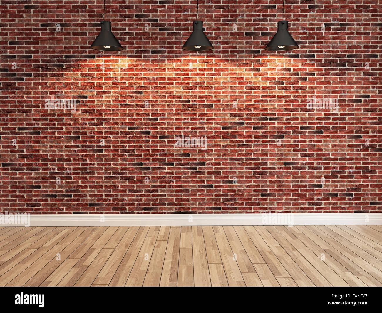 Interior red brick wall decoration under three light, interior ...