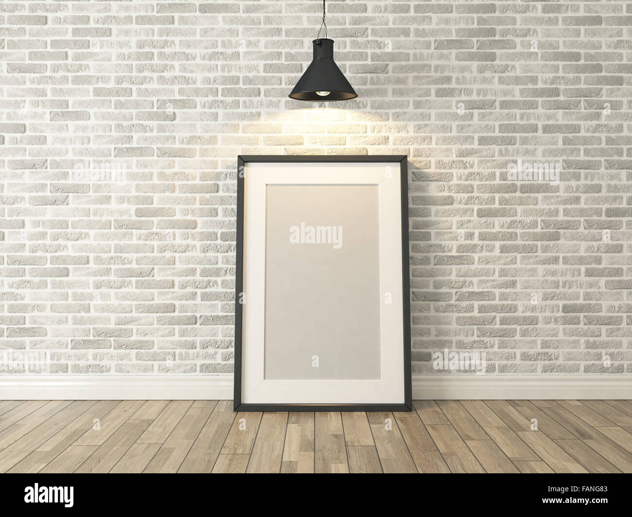 Picture frame on the white brick wall and wood floor under spot picture frame on the white brick wall and wood floor under spot light for picture background template advertising rendering jeuxipadfo Choice Image