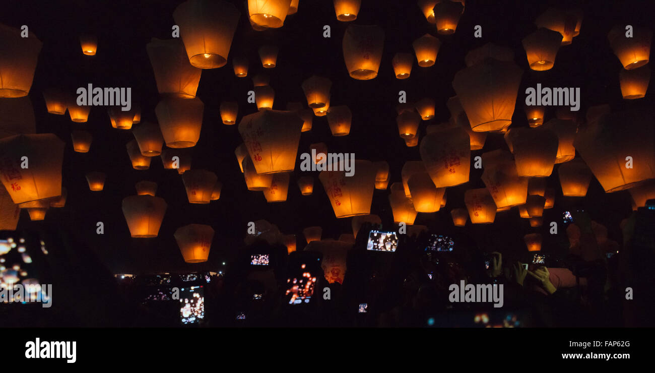 Night view of Sky Lanterns in the air during Chinese ...