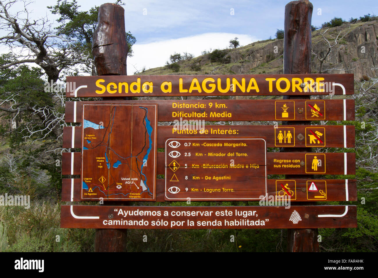 Map to hiking the Laguna Torre region of Los Glaciares ...