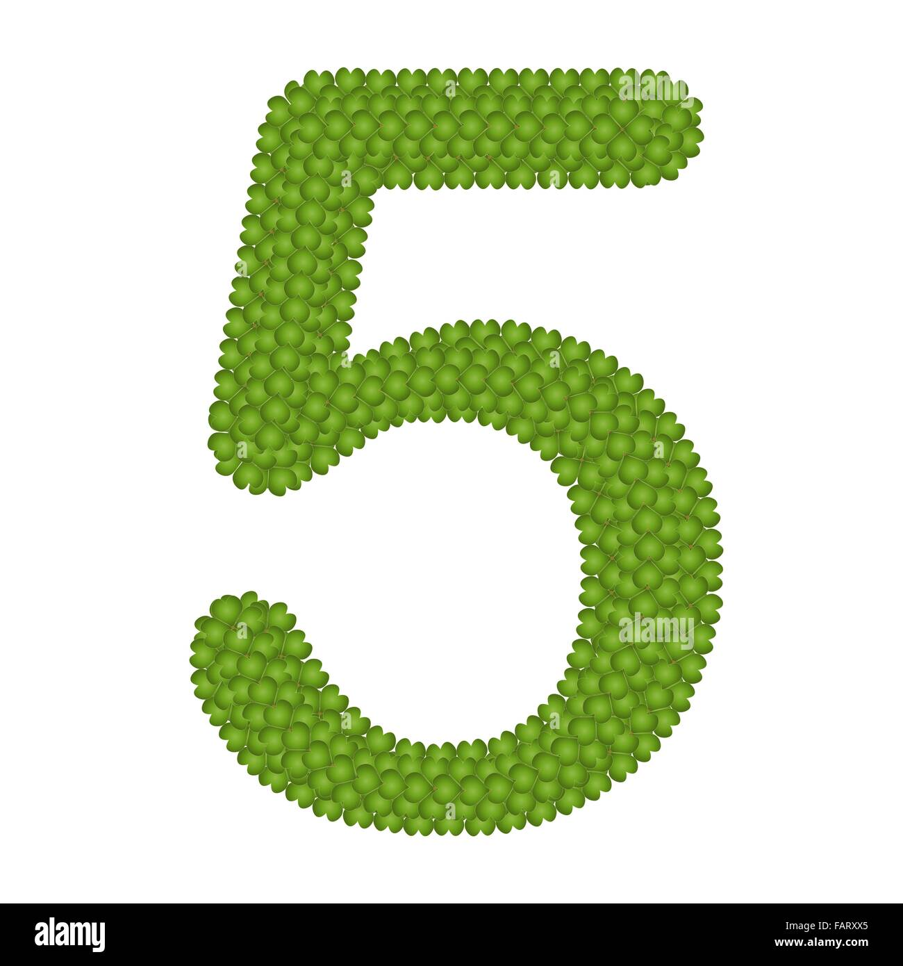 alphabet numbers four leaf clover with arabic numbers five