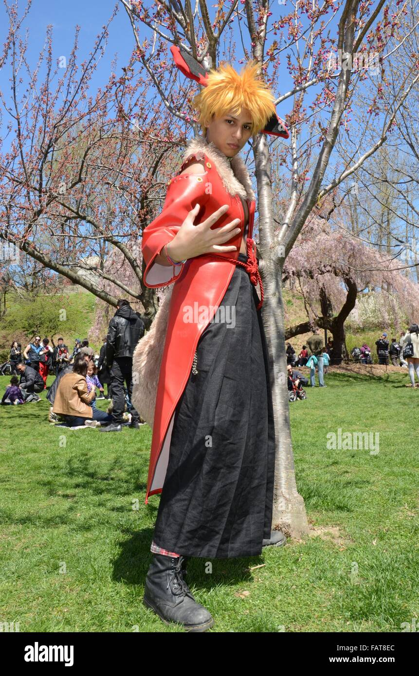 Cosplay Characters Blossom Festival Brooklyn Botanical Gardens 2105 Sunny  Day Colourful Cartoon Characters Comics In Park