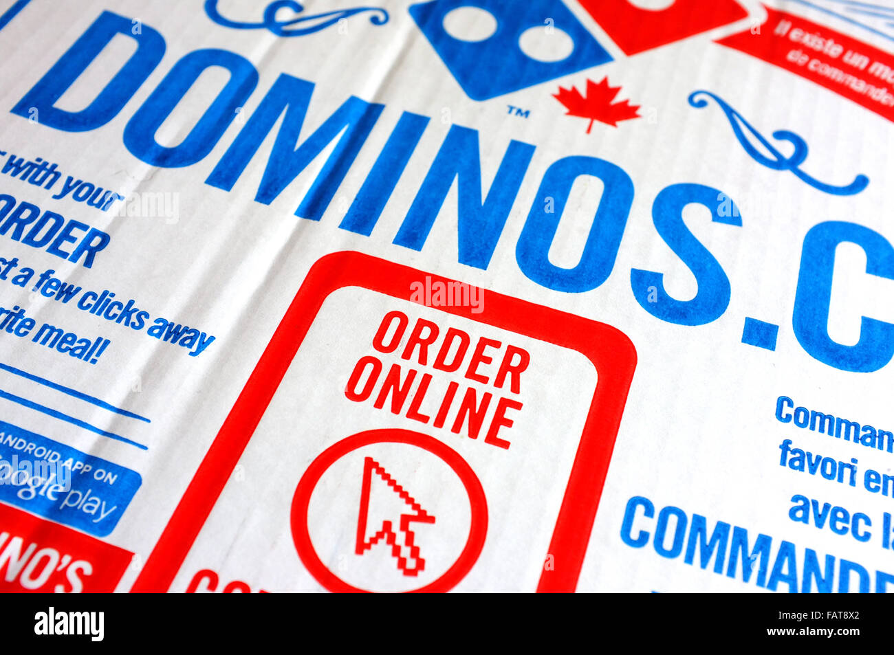 Dominos pizza online order - A Dominos Pizza Box With An Order Online Advert On It