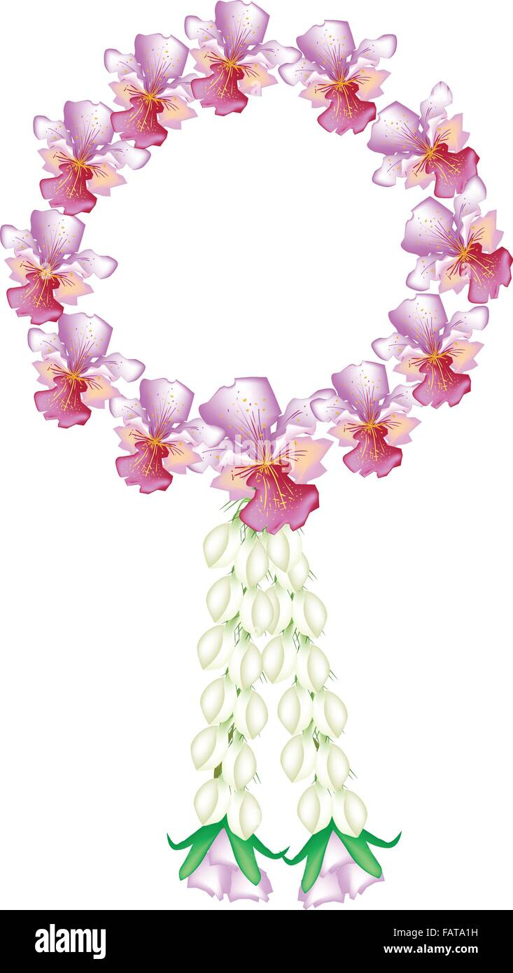 A symbol of love and luxury an illustration of beautiful flower a symbol of love and luxury an illustration of beautiful flower garland with pink vanda orchids white jasmine and roses blosso biocorpaavc Images