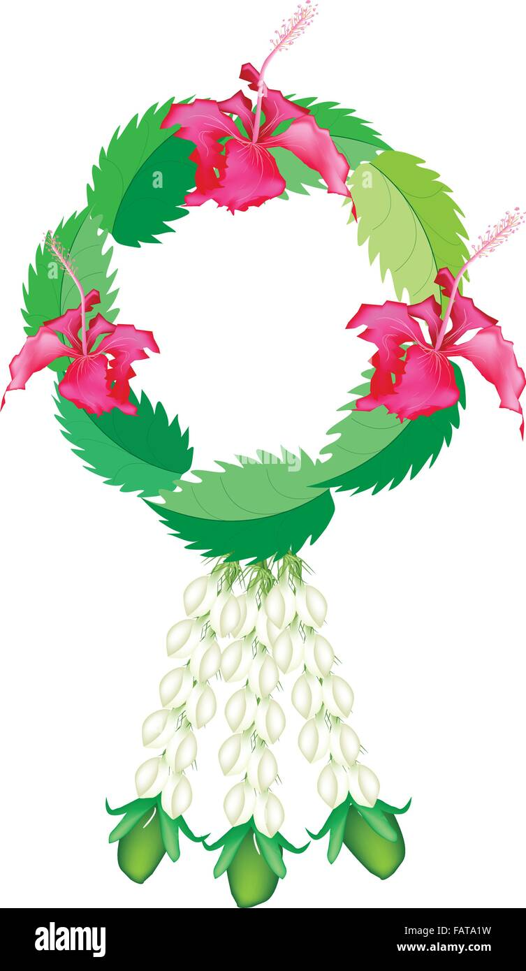 A symbol of love and luxury an illustration of beautiful flower a symbol of love and luxury an illustration of beautiful flower garland with fresh red hibiscus flowers or bunga raya and jasmi biocorpaavc Images