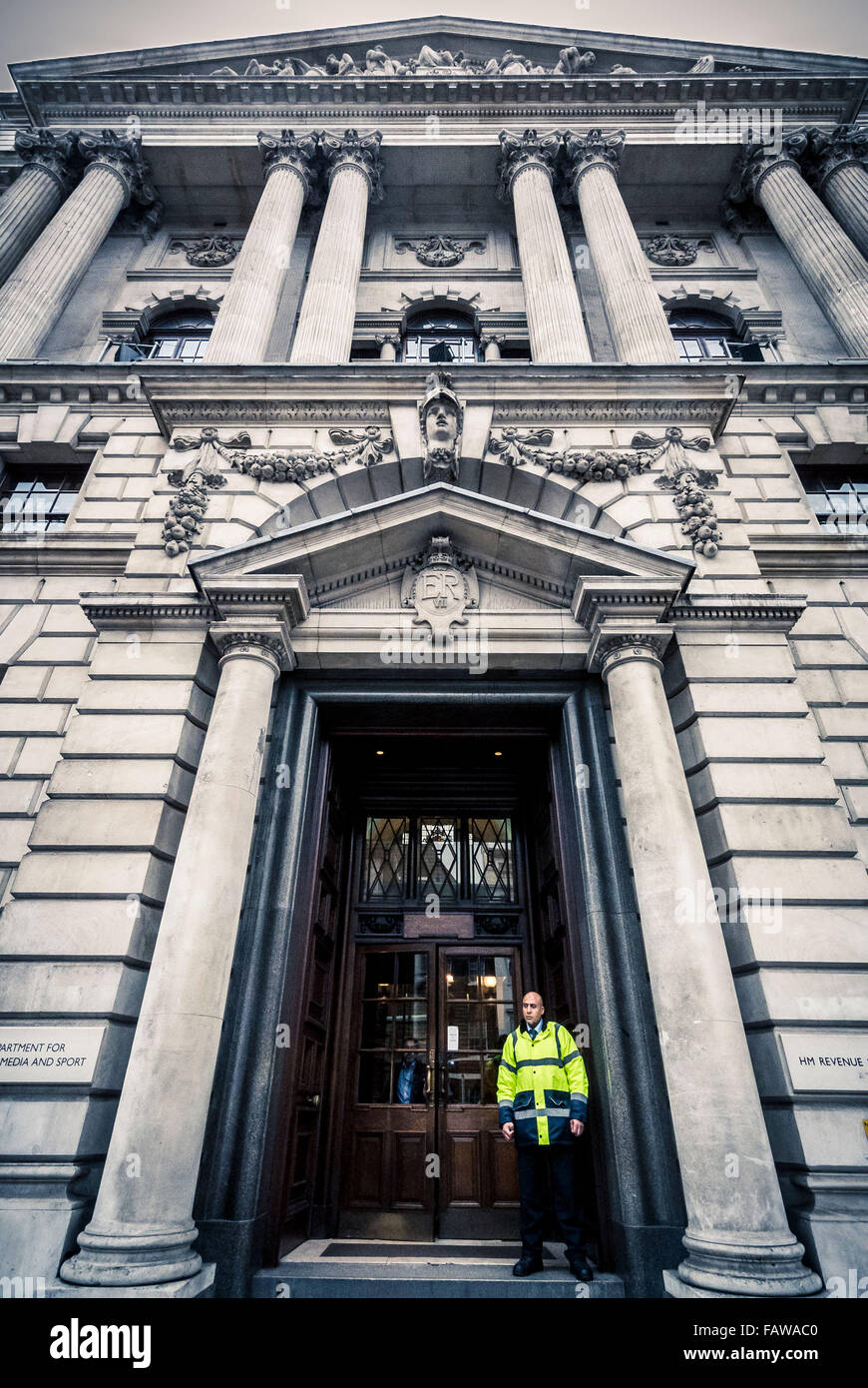 Department for culture media and sport hm revenue and customs department for culture media and sport hm revenue and customs building in whitehall london uk with security guard standing sciox Images