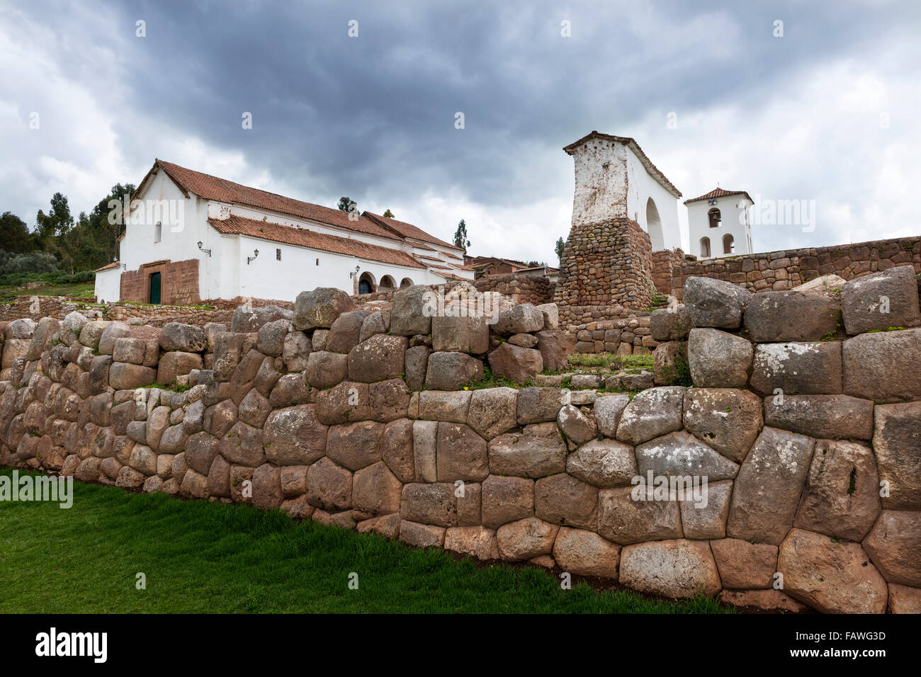 Catholic church built over ancient Inca stone walls in the the village of  Chinchero, in