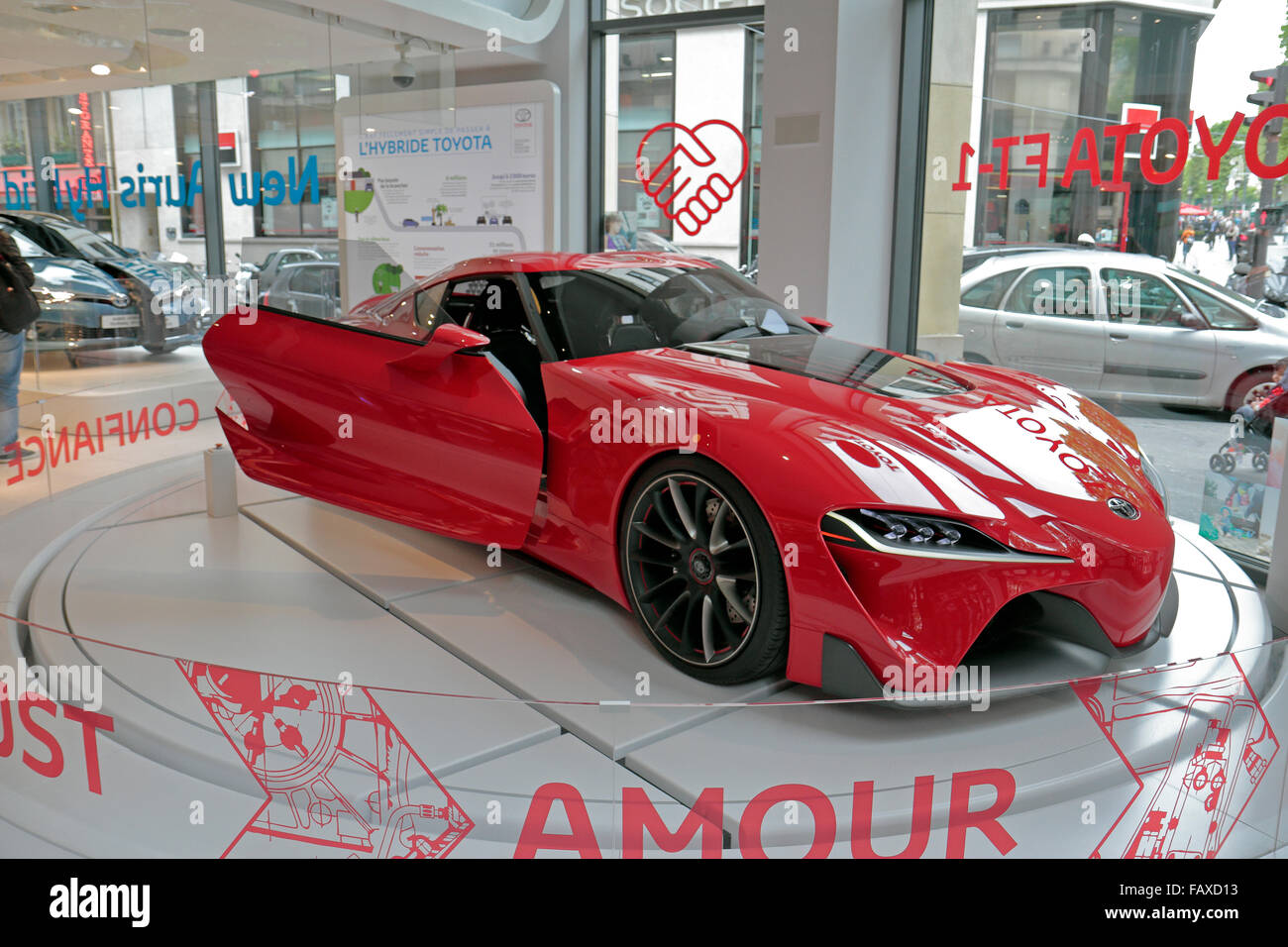 The Toyota FT 1 Concept Car On Display In The Paris Toyota Car Showroom On