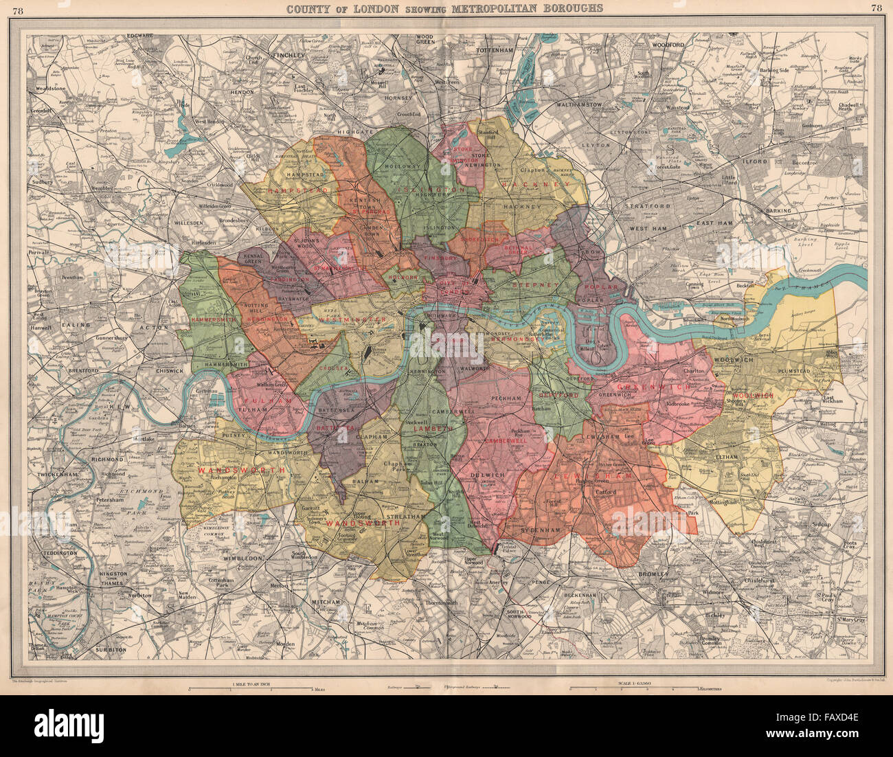 County Of London Showing Metropolitan Boroughs Railways Tube – Large London Map