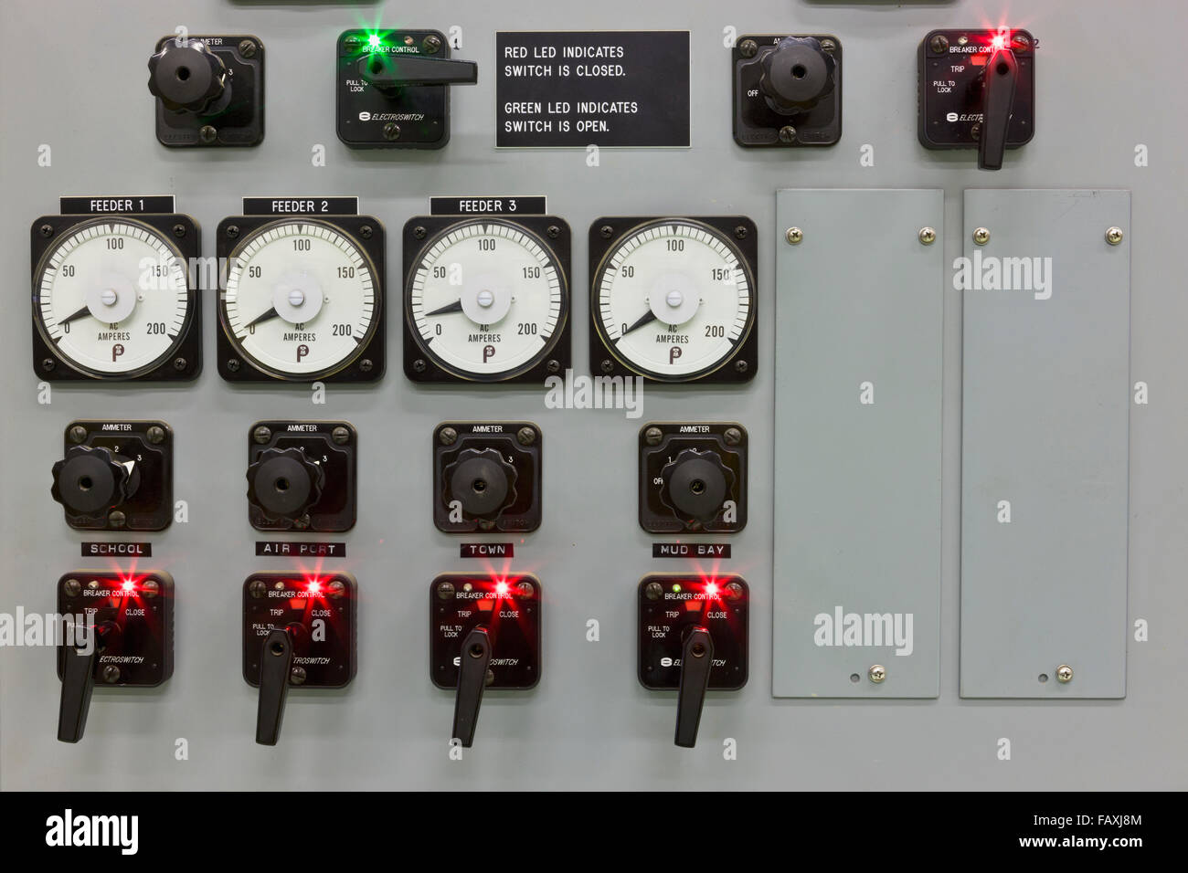 Indicator Lights And Dials On A Control Panel In An Electrical Power Plant Sand Point Southwestern Alaska USA Summer