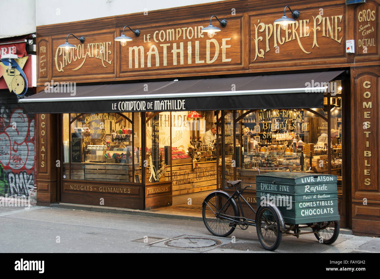 The richly decorated facade of a traditional chocolate store with ...