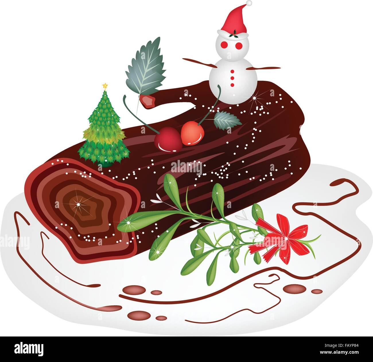 a traditional christmas cake yule log cake or buche de noel with