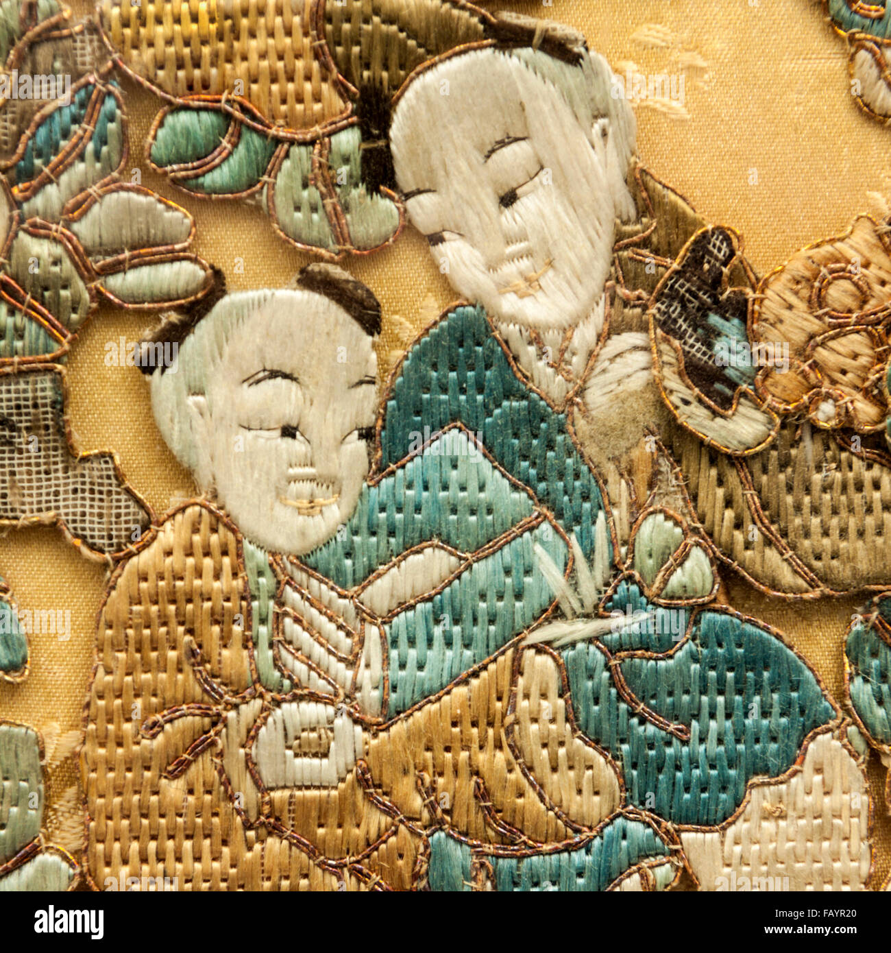 Antique 19th Century Chinese Or Japanese Embroidered Wall Panel Stock Photo Royalty Free Image
