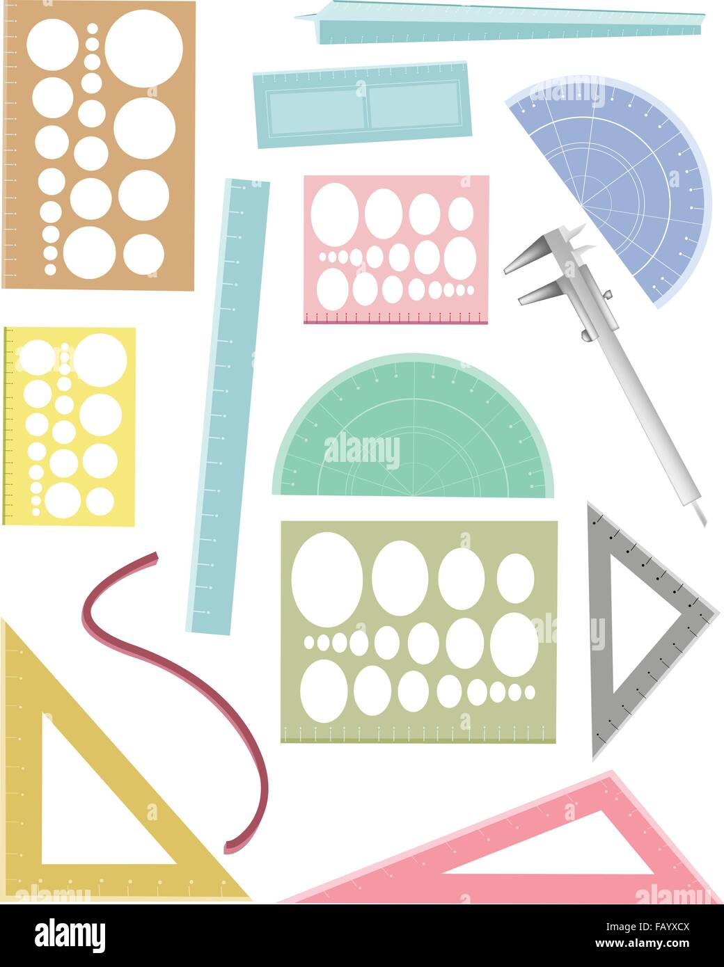 Architecture Drawing Instruments drawing equipment, a collection of geometric rulers and and stock