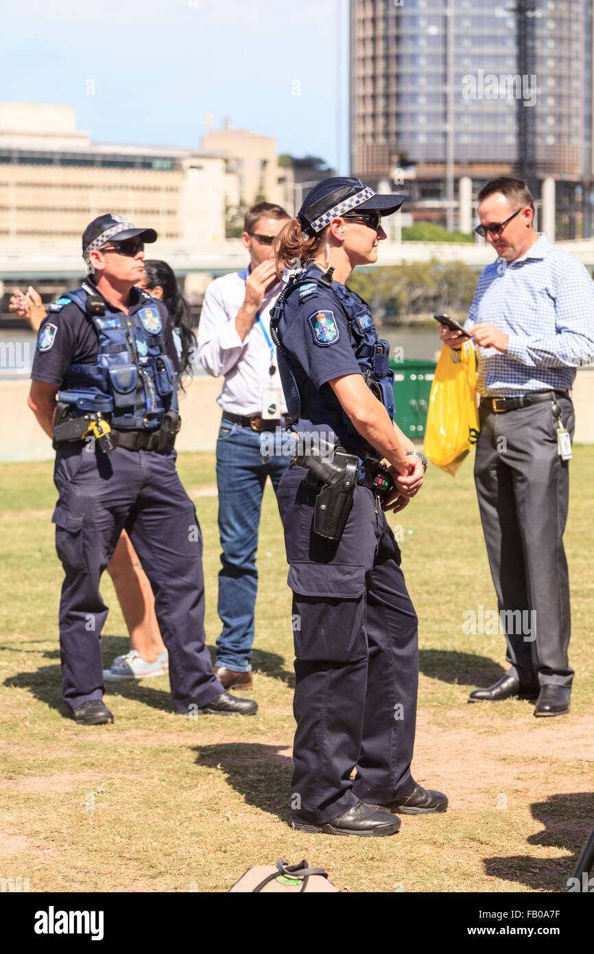 law enforcement armed police on duty in brisbane state capital of