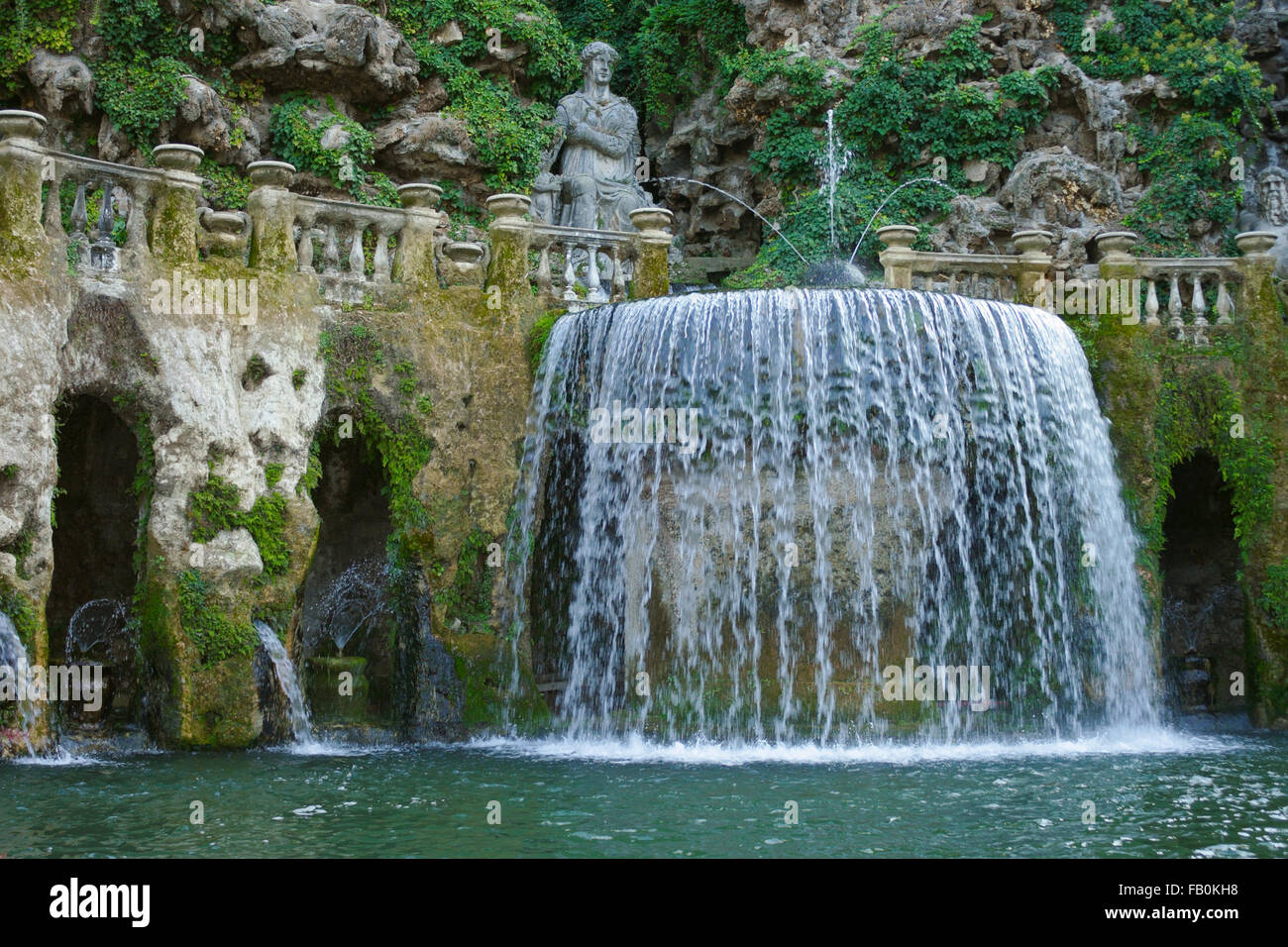 Italy Tivoli Oval Fountain In The Garden Of The Villa