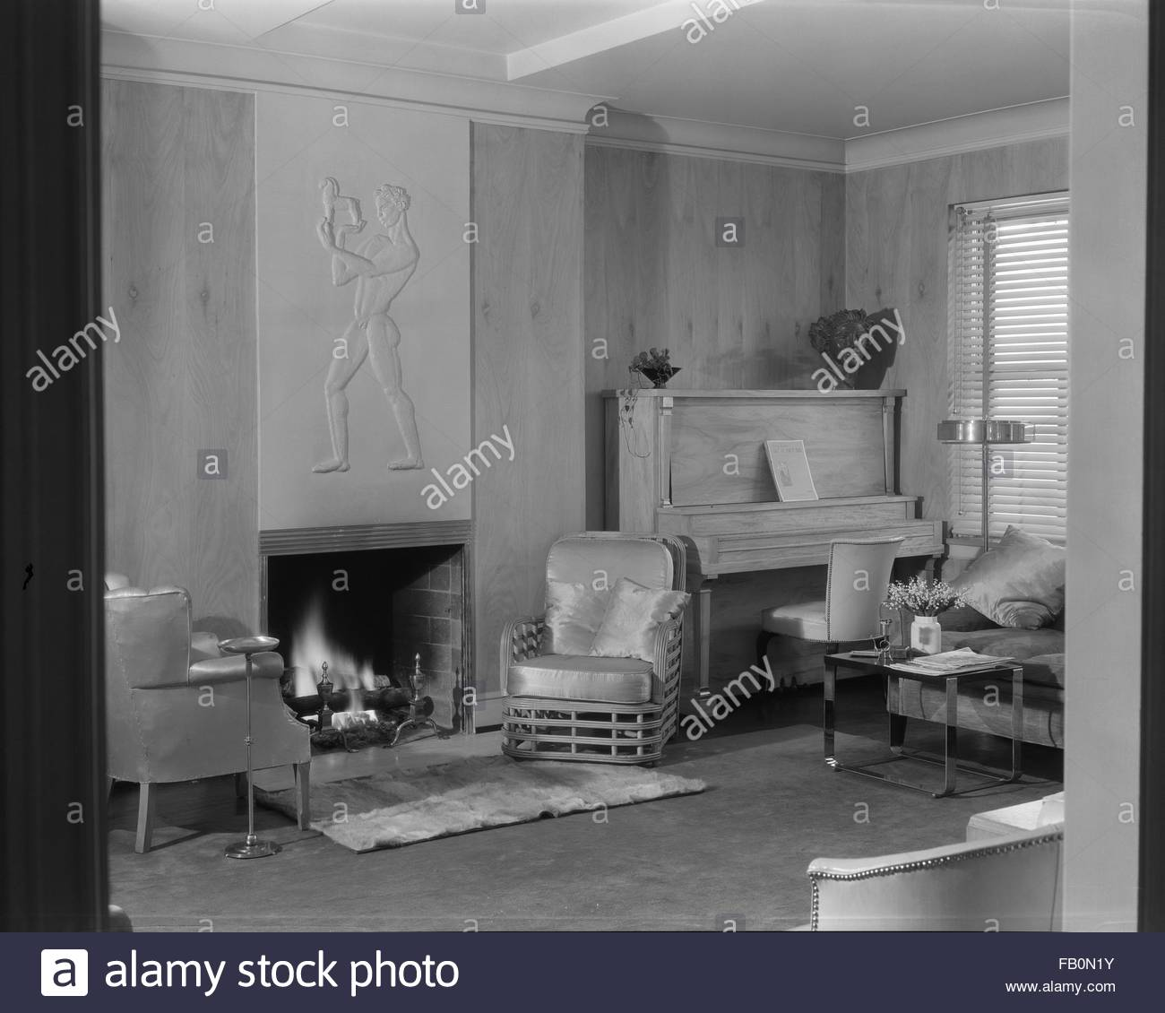 Music Living Room Interior Living Room With Fireplace Upright Piano And Relief