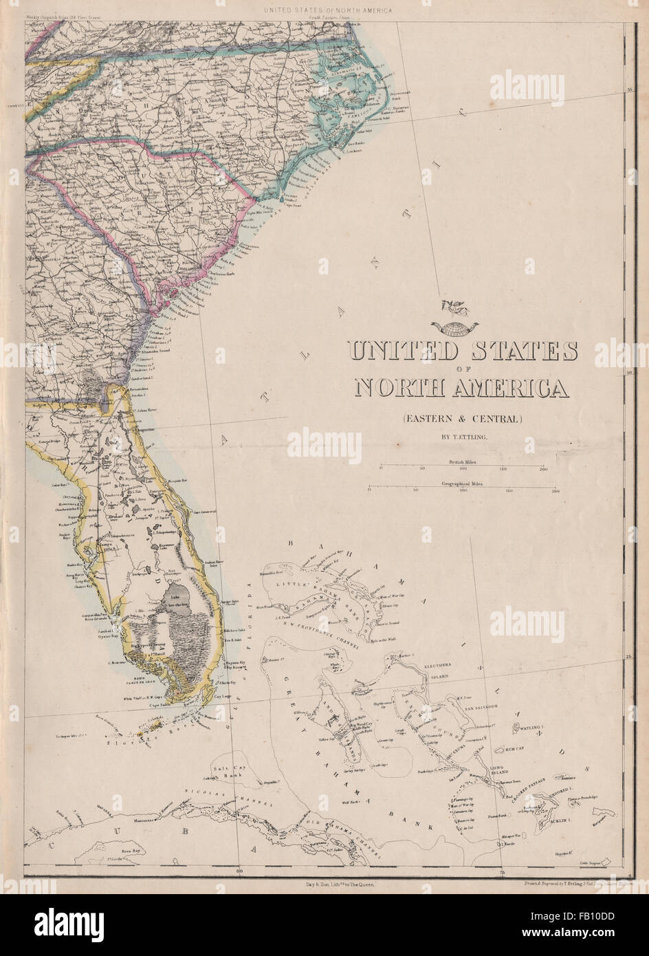 USA SOUTH EAST Florida Georgia Carolina Coast Bahamas ETTLING - Map of eastern florida