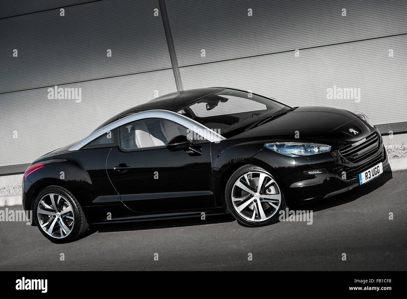 black peugeot rcz coupe sports car stock photo royalty free image 92844844 alamy. Black Bedroom Furniture Sets. Home Design Ideas