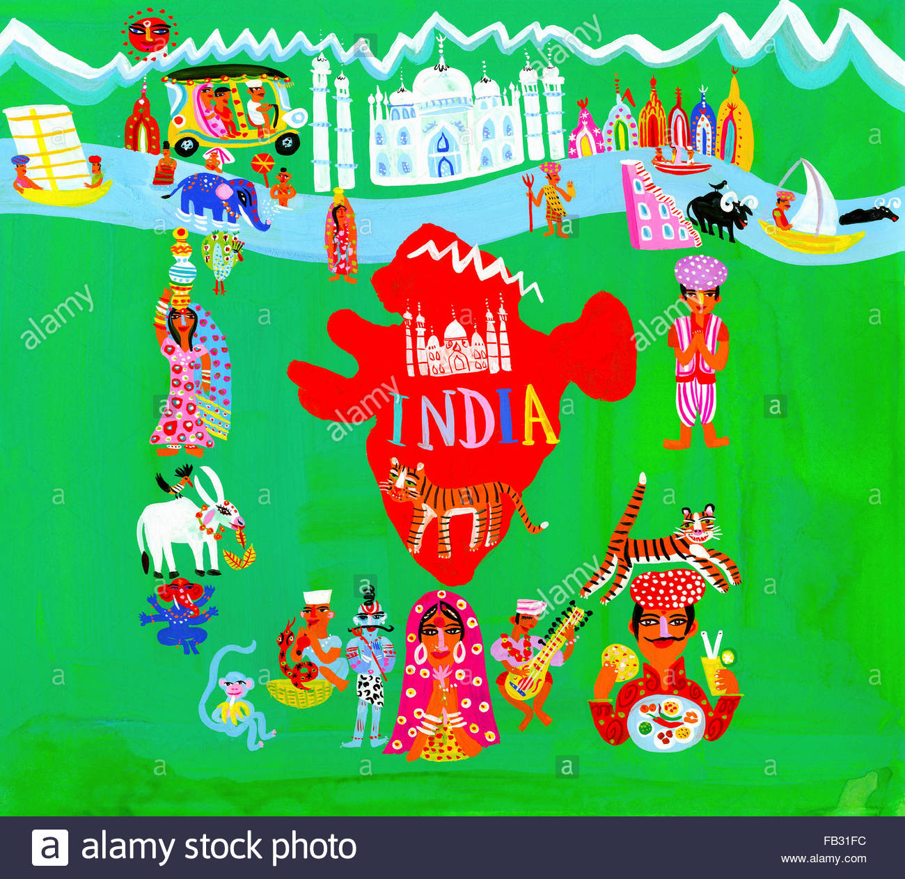 map of india surrounded by indian people and culture stock photo