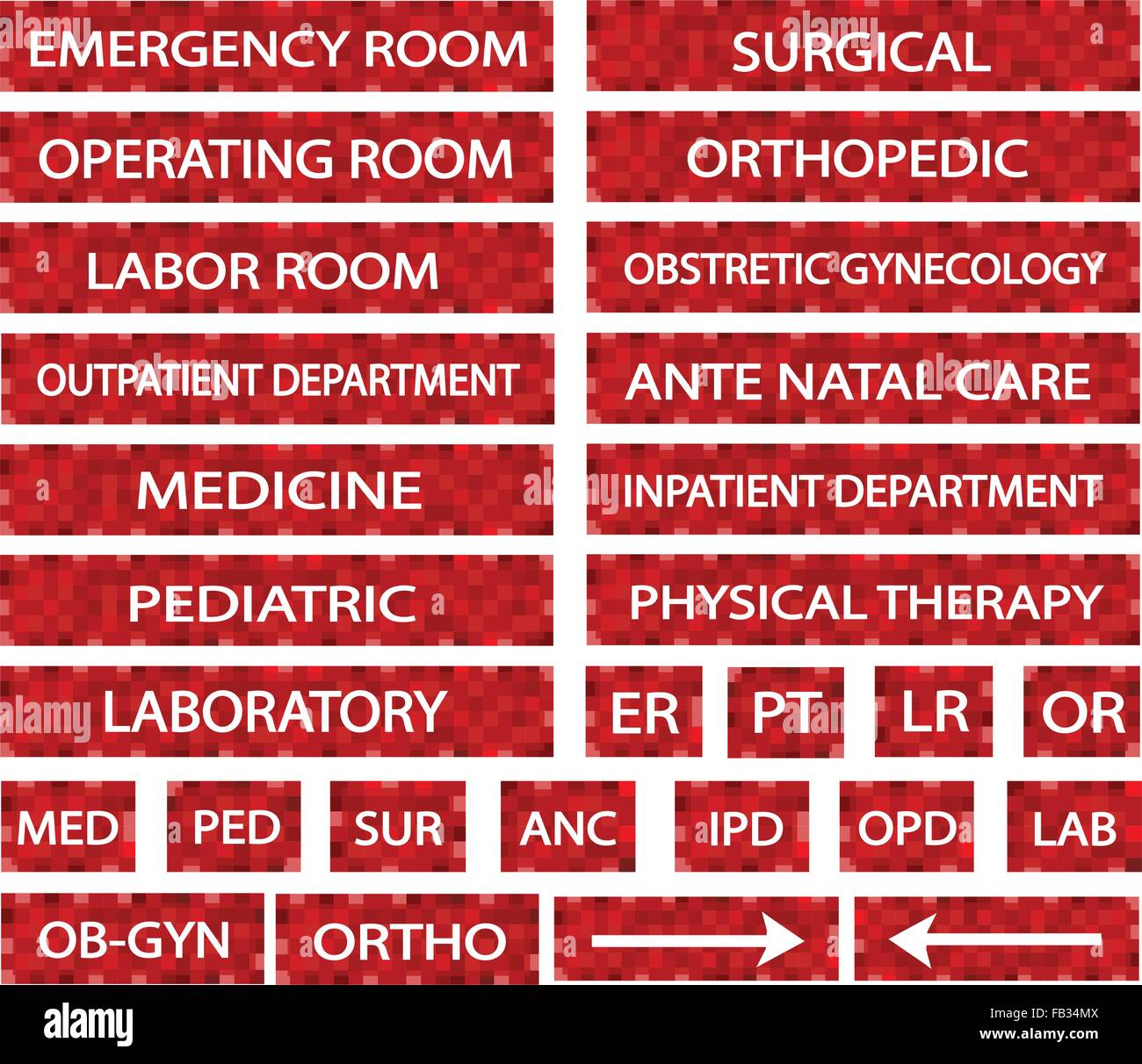 Illustration collection of hospital signs and medical illustration collection of hospital signs and medical abbreviations of different departments at a hospital in red labels biocorpaavc Images