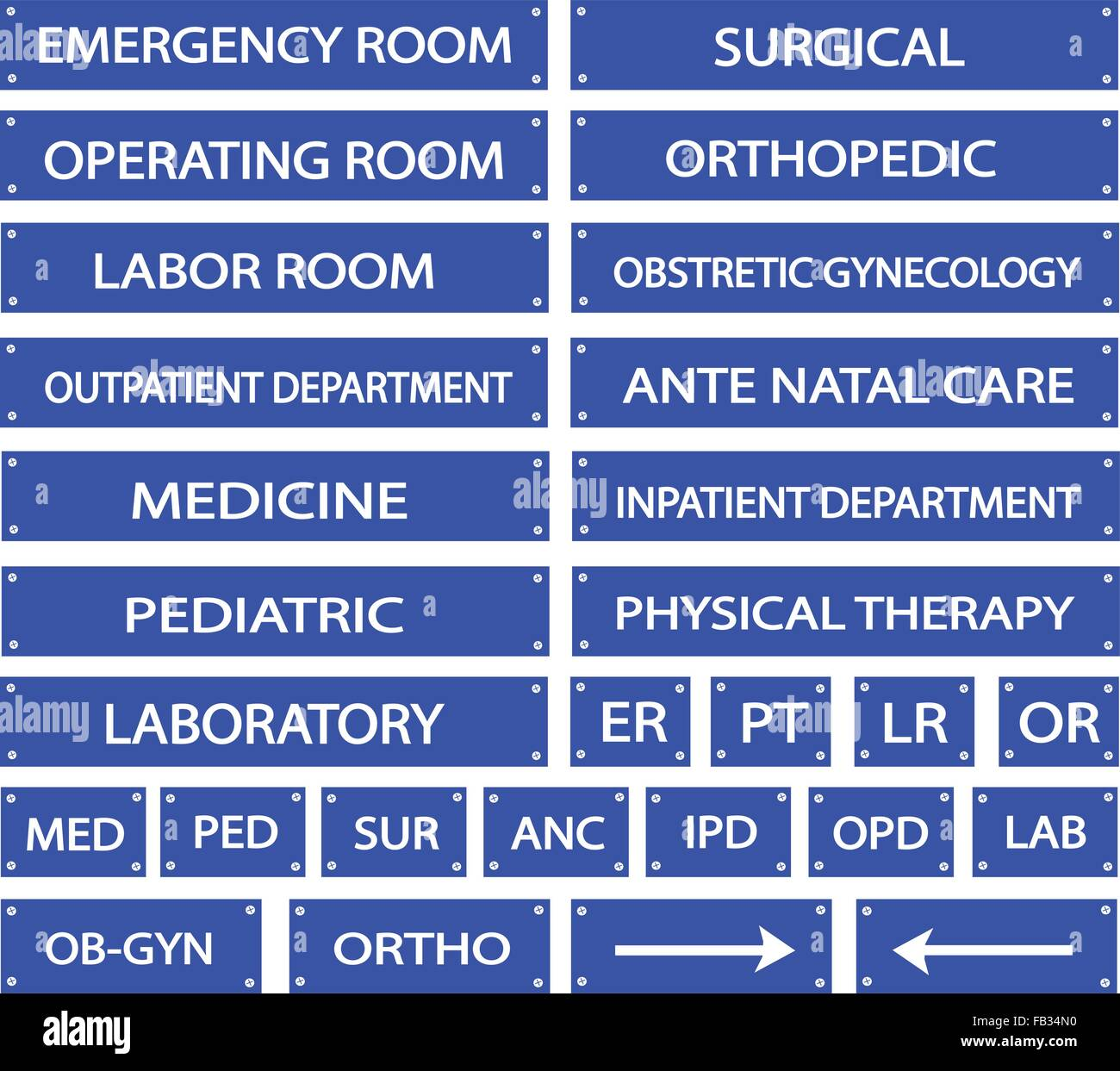 Illustration Collection Of Blue Hospital Signs And Medical