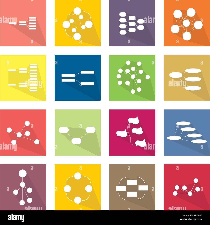 Flat icons illustration set of 16 family team tree chart diagram flat icons illustration set of 16 family team tree chart diagram flow chart and graph icon labels nvjuhfo Choice Image