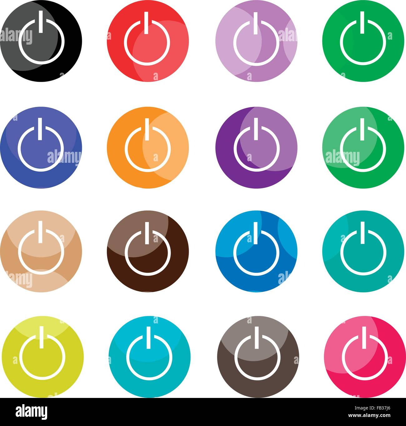 Flat icons illustration set of 16 shut down icons or power off flat icons illustration set of 16 shut down icons or power off button icons with computer and technology concepts biocorpaavc Choice Image
