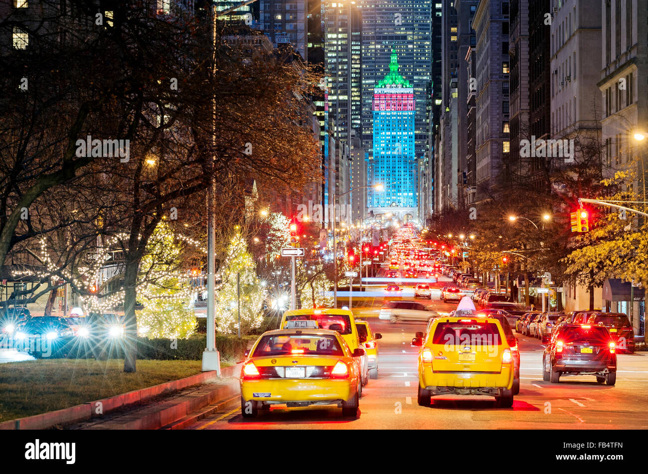 new york christmas new york street park avenue decorations new york stock photo 92920121 alamy. Black Bedroom Furniture Sets. Home Design Ideas