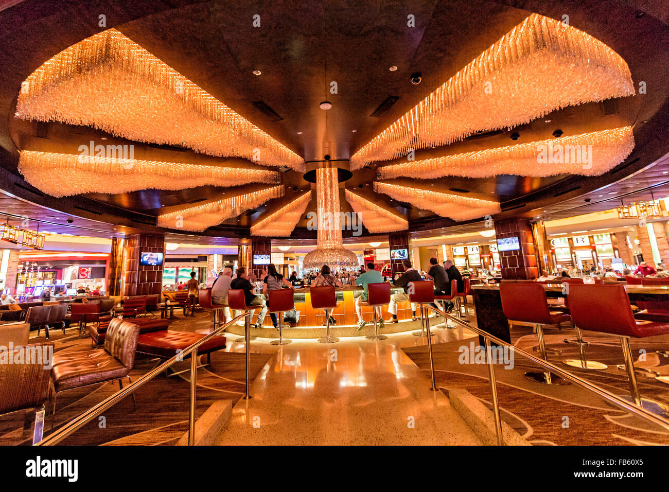 Lucky Bar with its 1.6 million crystals in the chandelier at Red ...