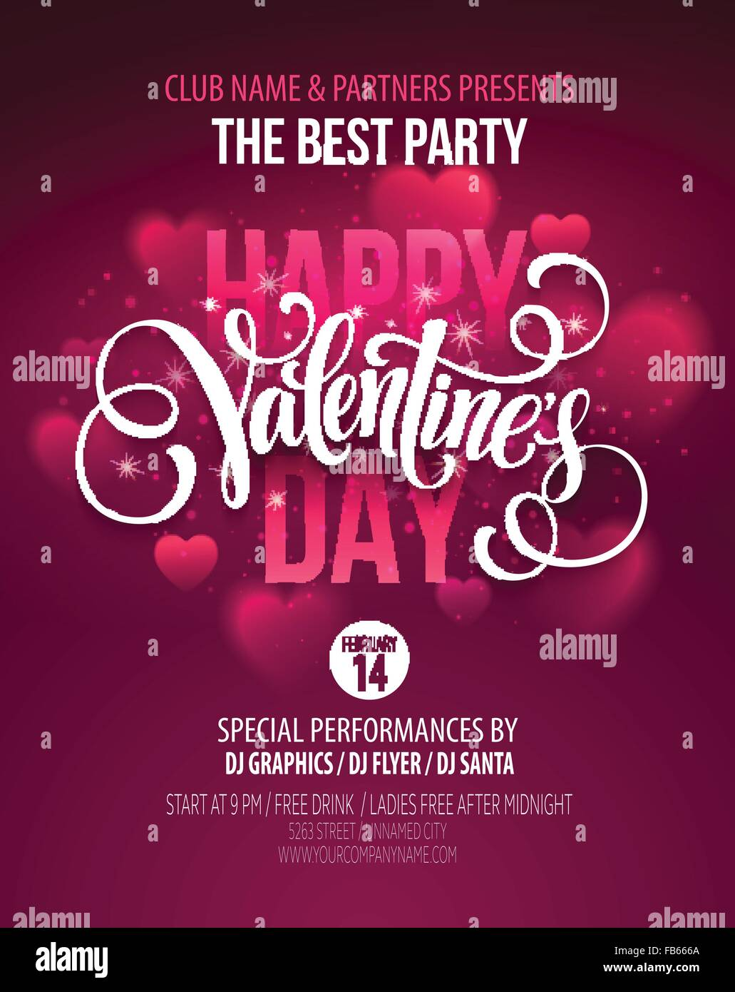 valentines day party poster design template of invitation flyer stock vector valentines day party poster design template of invitation flyer poster or greeting card vector illustration