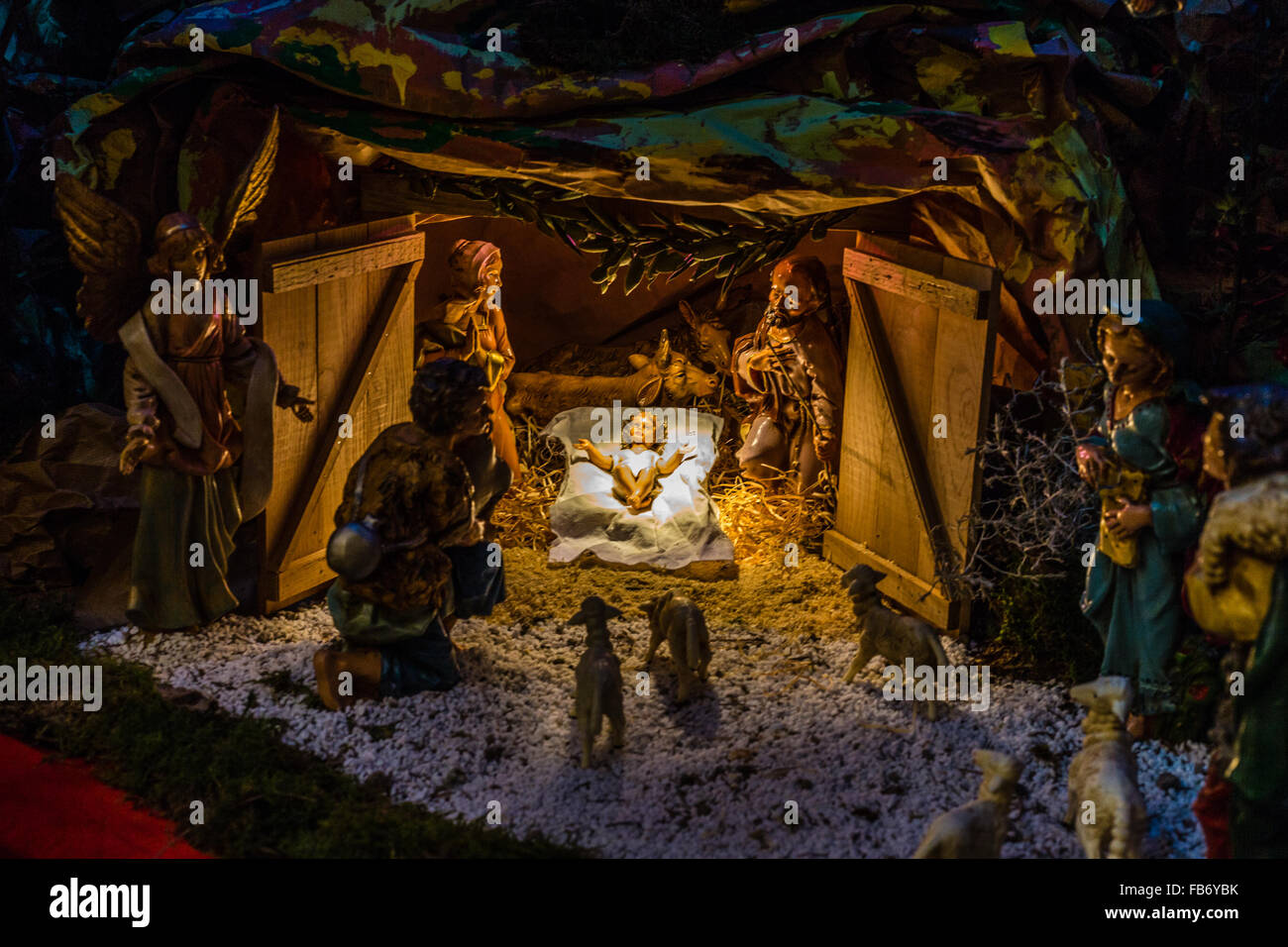 statues in a christmas nativity scene the blessed virgin mary and