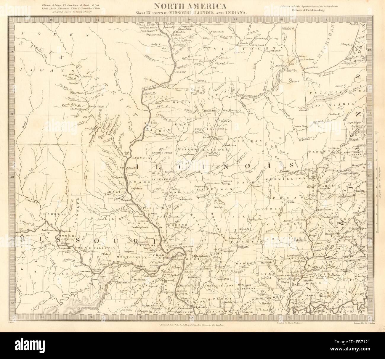 USA Missouri Illinois Indiana Indian tribes villages borders