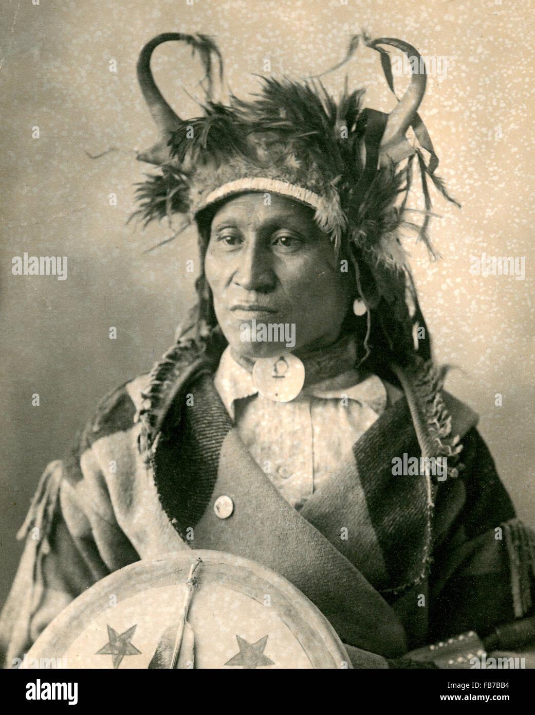 native american indian chief wetsit assiniboine indian stock