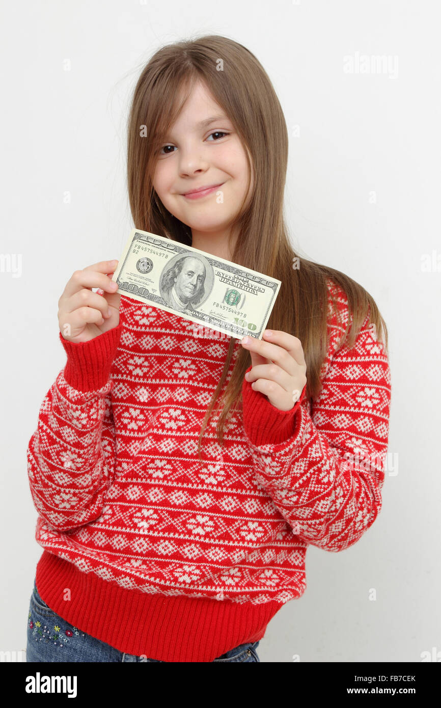 Adorable Teen Girl And Cash Dollars Stock Photo, Royalty Free ...